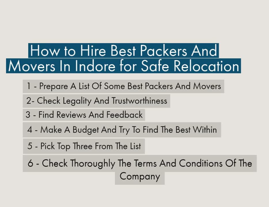 How to Hire Best Packers And Movers In Indore for Safe Relocation